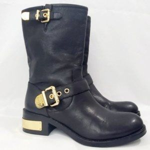 Vince Camuto Black Leather Moto Boots - Size 6